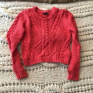 Topshop Pink Cable Knit Crop Sweater